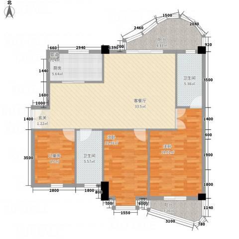 华腾碧水映象3室1厅2卫1厨126.00㎡户型图
