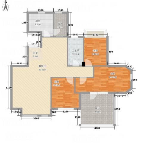 锦联・经典名郡3室1厅1卫1厨146.00㎡户型图