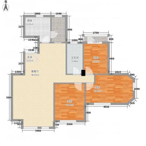 锦联・经典名郡3室1厅1卫1厨127.00㎡户型图