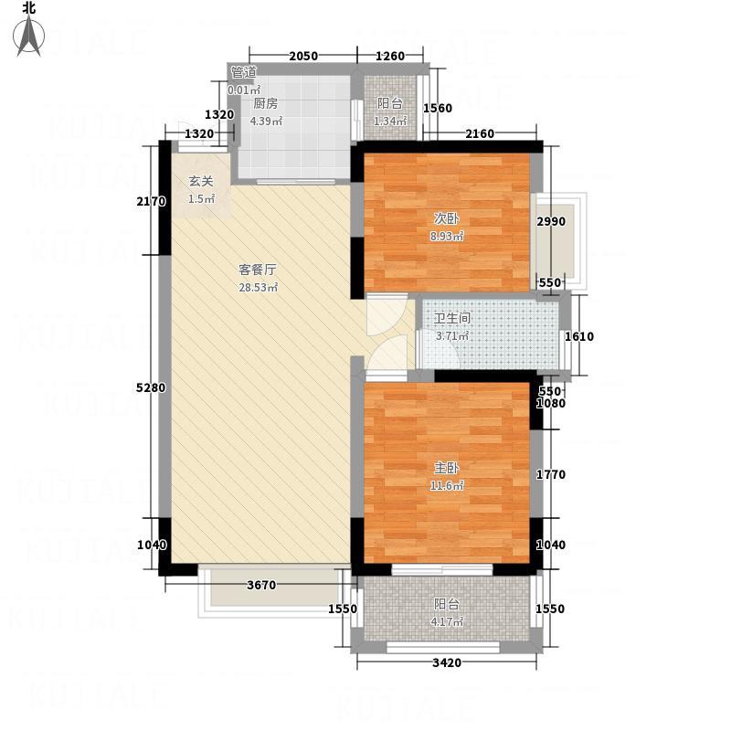 常绿・大阅城1328.82㎡C户型2室2厅1卫1厨