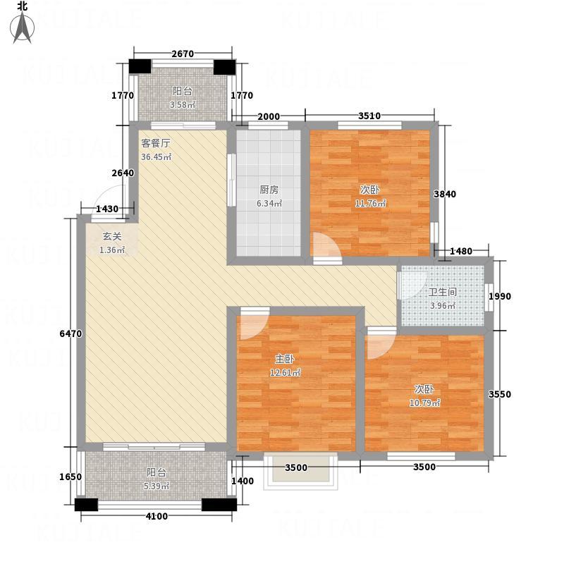 世贸绿洲12.00㎡C1户型3室2厅1卫1厨