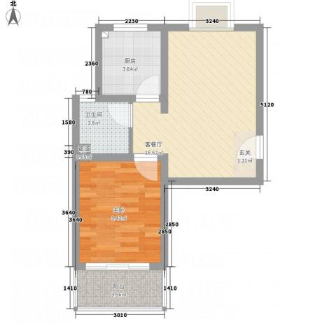 凤凰湖1室1厅1卫1厨54.00㎡户型图