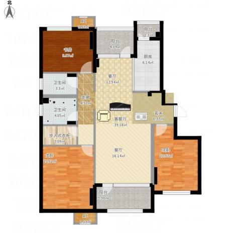 中海银海熙岸3室1厅4卫1厨154.00㎡户型图