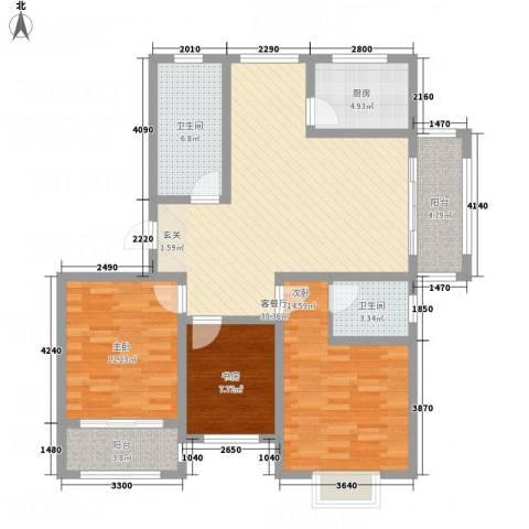 凤凰湖3室1厅2卫1厨88.56㎡户型图