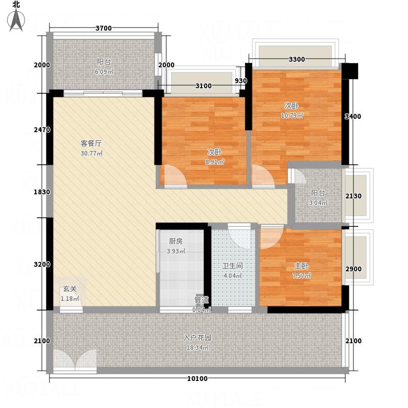 兆兴碧瑞花园8座06户型3室2厅1卫1厨
