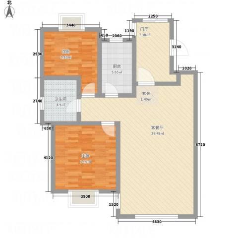 天房意墅2室1厅1卫1厨102.00㎡户型图
