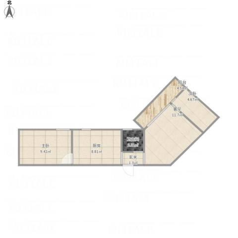 倚绿山庄2室1厅1卫1厨58.00㎡户型图