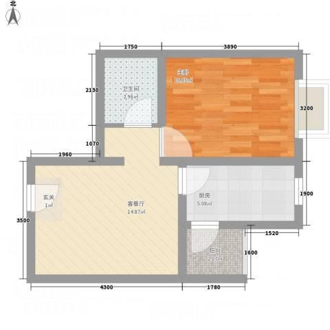 中悦水晶城1室1厅1卫1厨53.00㎡户型图