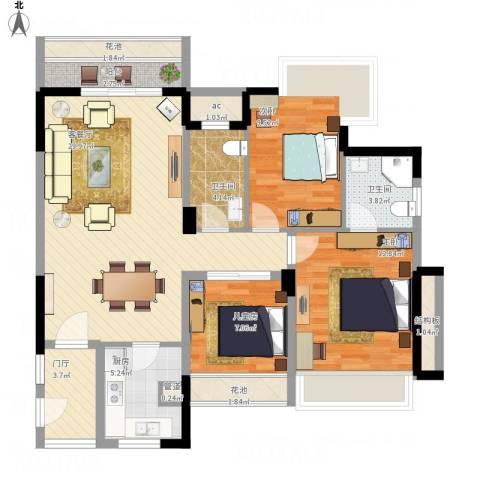 广基・自由星城3室1厅2卫1厨124.00㎡户型图