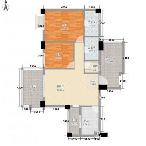 文泉翠满庭2室1厅2卫1厨94.16㎡户型图