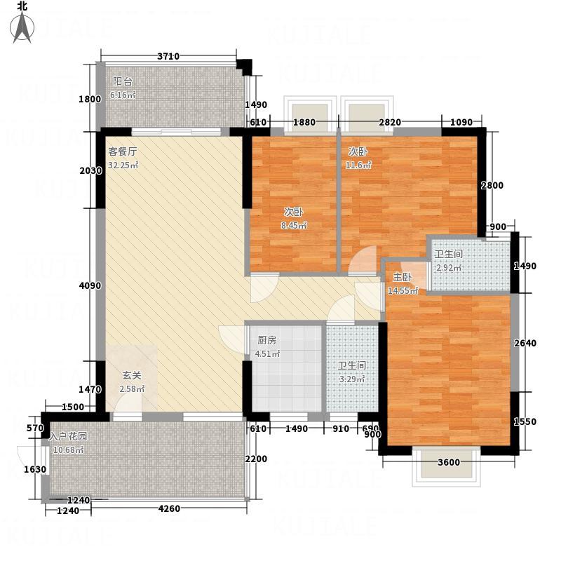 鑫源国际广场114.00㎡H栋02单元户型3室2厅2卫1厨