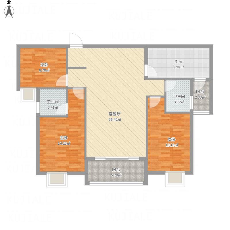 金帝花园B户型三室两厅