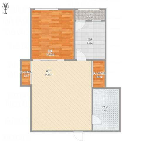 鑫达小区1室1厅1卫1厨74.00㎡户型图