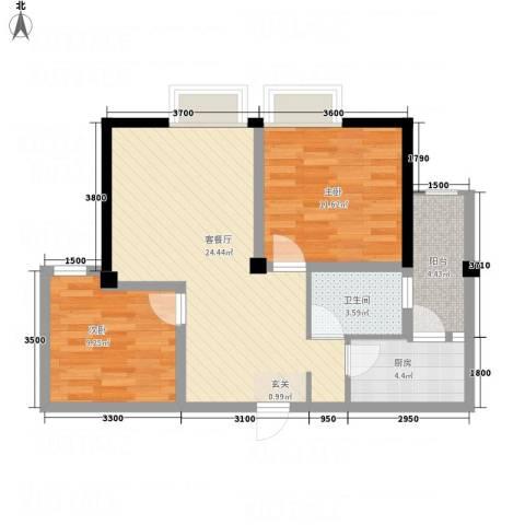 凯江新城2室1厅1卫1厨76.00㎡户型图