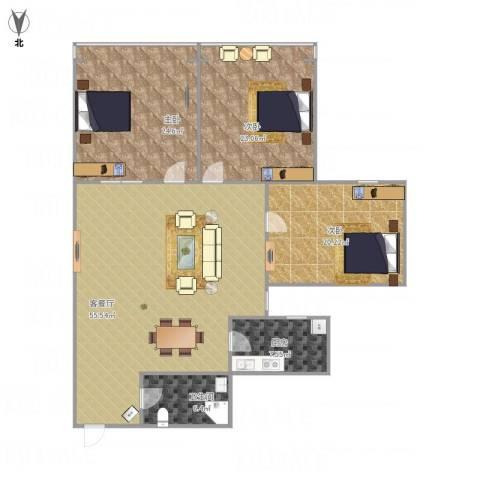 中大凤栖花园3室1厅1卫1厨180.00㎡户型图