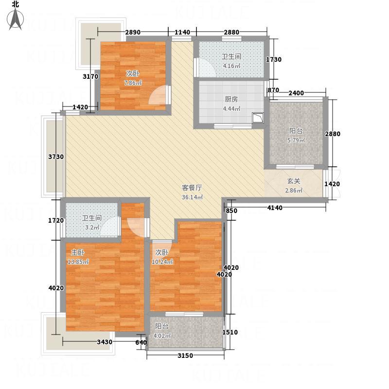 东方福郡128.50㎡D1户型3室2厅1卫1厨