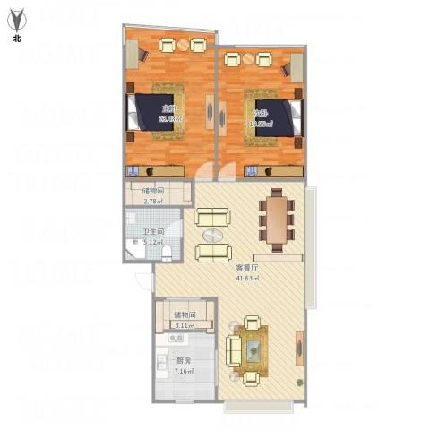 凤起都市花园2室1厅1卫1厨137.00㎡户型图