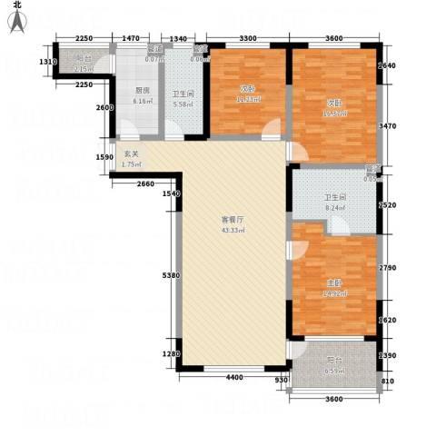 辉煌国际・海港城C区3室1厅2卫1厨157.00㎡户型图