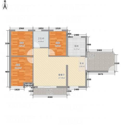 凤凰湖3室1厅1卫1厨74.65㎡户型图