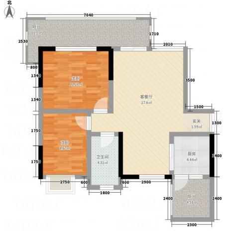 凯江新城2室1厅1卫1厨88.00㎡户型图