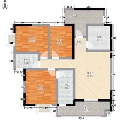 凯江新城3室1厅2卫1厨1116.00㎡户型图
