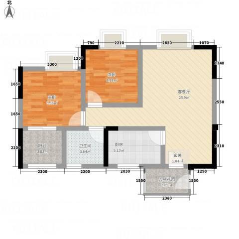 凯江新城2室1厅1卫1厨77.00㎡户型图
