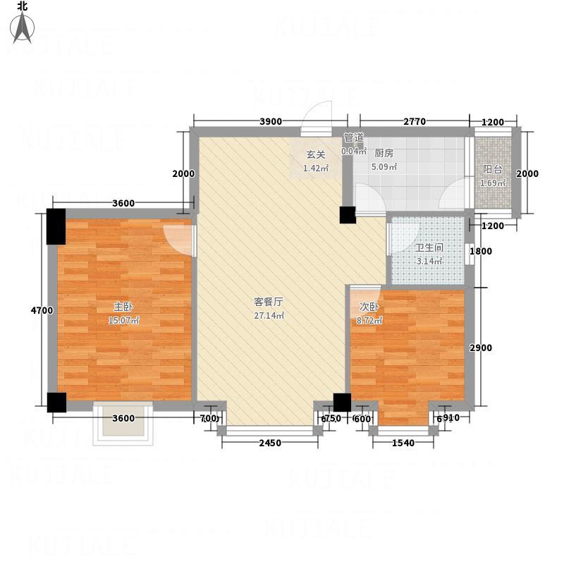 华腾碧水映象8.38㎡户型2室2厅1卫1厨