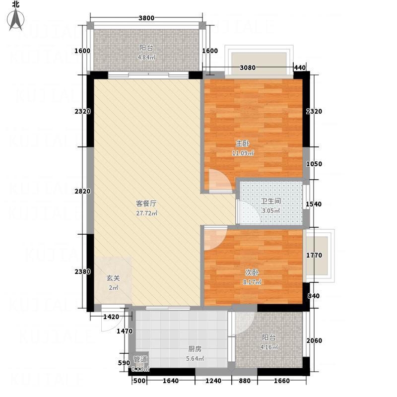 商业中心南区8.00㎡标准层01户型3室2厅2卫1厨