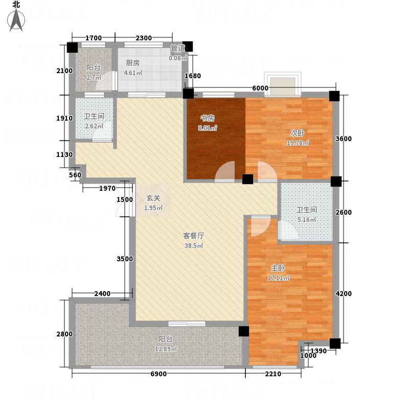 桥南财富广场三期・金鼎湾户型3室2厅2卫1厨