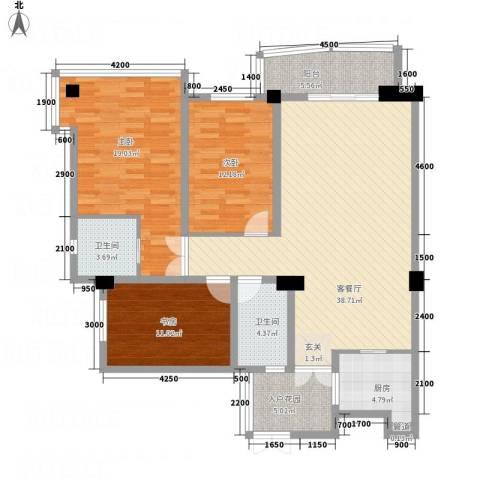 华腾碧水映象3室1厅2卫1厨150.00㎡户型图