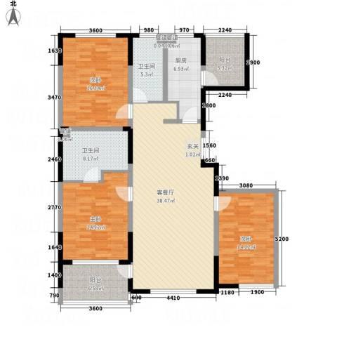 辉煌国际・海港城C区3室1厅2卫1厨156.00㎡户型图