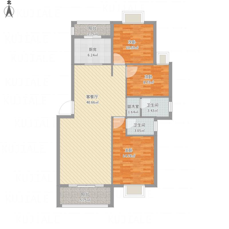 金帝花园F户型三室两厅