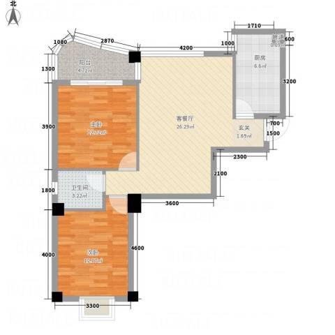华腾碧水映象2室1厅1卫1厨84.00㎡户型图