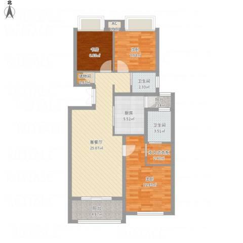 绿地海域香廷3室1厅2卫1厨108.00㎡户型图