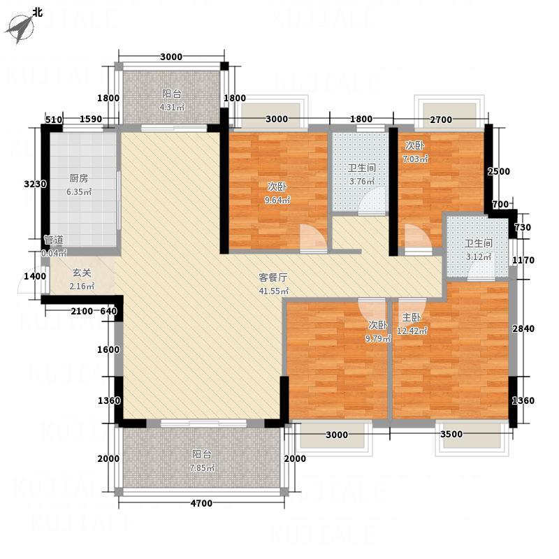 万华城137.50㎡G3户型4室2厅3卫1厨