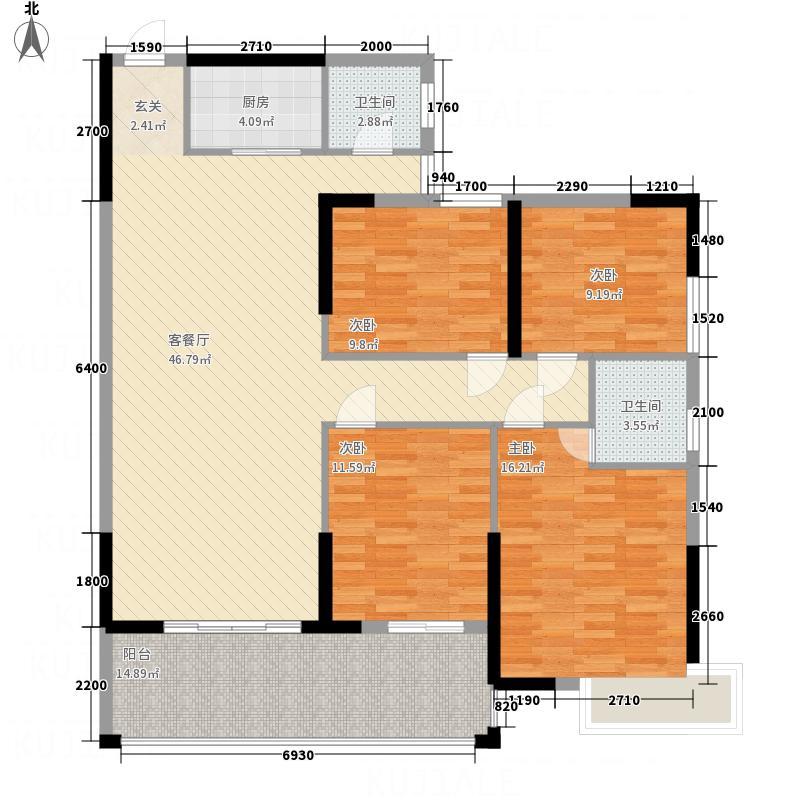鑫源国际广场135.00㎡F栋03单元户型4室2厅2卫1厨