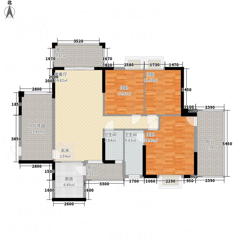 鑫源国际广场12.00㎡F栋02单元户型3室2厅2卫1厨