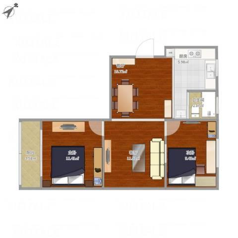 张桥小区2室2厅1卫1厨59.66㎡户型图