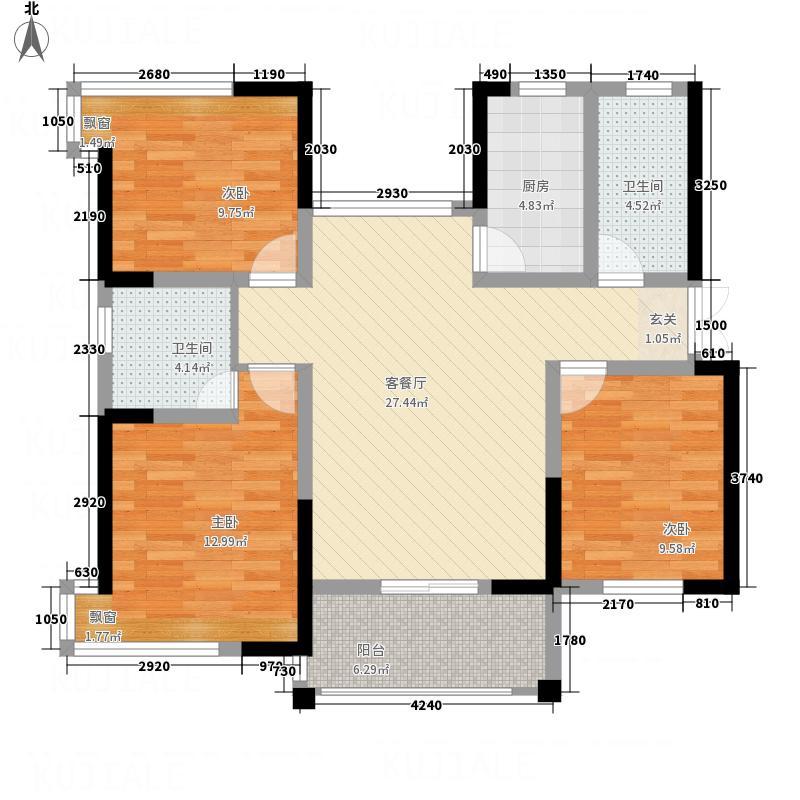 天鹏御景115.38㎡A户型3室1厅2卫1厨