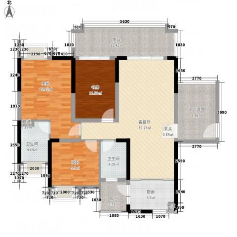 城市假日E区3室1厅2卫1厨116.00㎡户型图