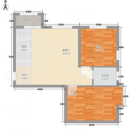 溪林湾・东方新天地2室1厅1卫0厨82.00㎡户型图