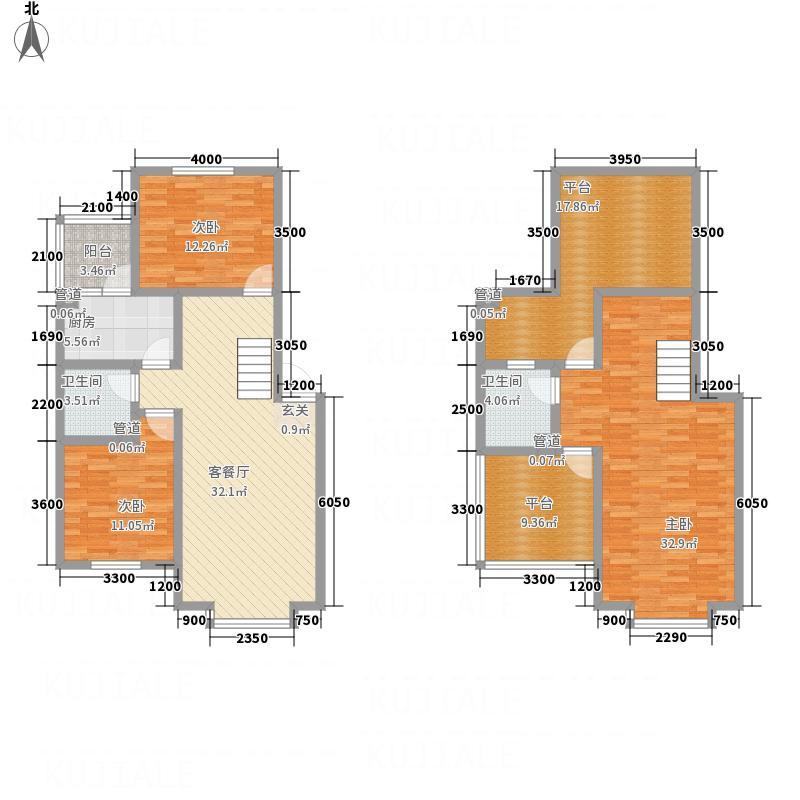 观唐128.86㎡C跃层户型3室2厅2卫1厨