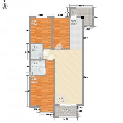 溪林湾・东方新天地3室1厅2卫0厨116.00㎡户型图