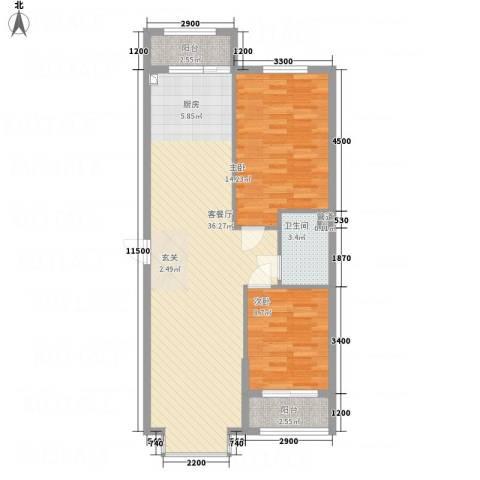 溪林湾・东方新天地2室1厅1卫0厨68.10㎡户型图