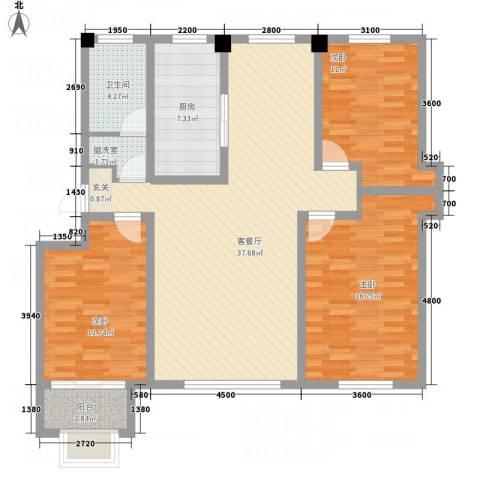 金辰香溪丽舍3室2厅1卫1厨135.00㎡户型图