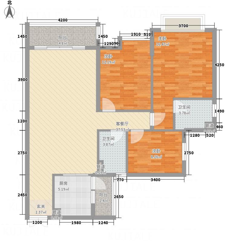 华鹏国际663118.31㎡6#06户型3室2厅2卫