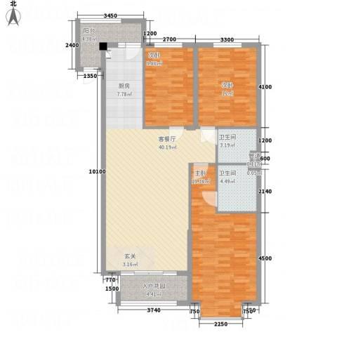 溪林湾・东方新天地3室1厅2卫0厨136.00㎡户型图