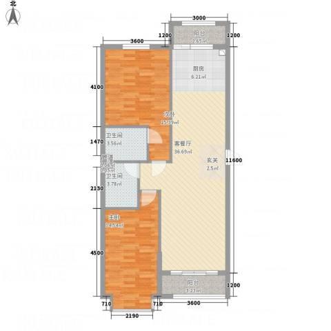 溪林湾・东方新天地2室1厅2卫0厨79.96㎡户型图