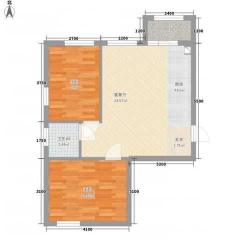 溪林湾・东方新天地2室1厅1卫0厨73.00㎡户型图