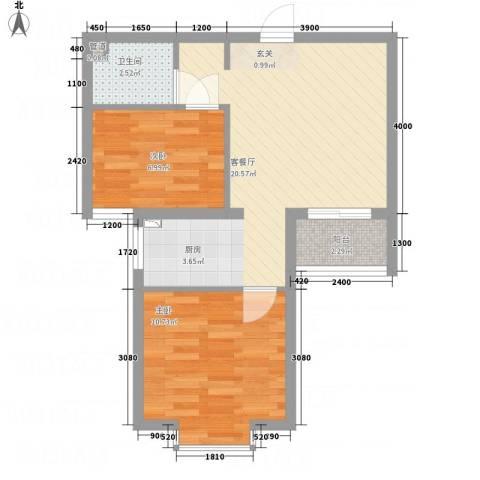溪林湾・东方新天地2室1厅1卫0厨65.00㎡户型图